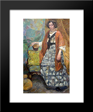 Interior With Artist'S Sister, Emma Weie: Modern Black Framed Art Print by Edvard Weie
