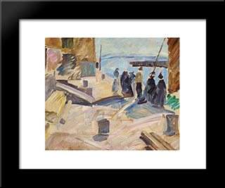 The Arrival Of The Mail Boat, Christianso (Study): Modern Black Framed Art Print by Edvard Weie