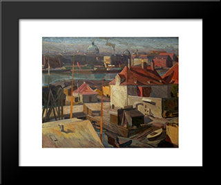 View Over Wilder'S Square, Christianshavn: Modern Black Framed Art Print by Edvard Weie