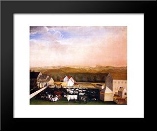 A May Morning View Of The Farm And Stock Of David Leedon: Modern Black Framed Art Print by Edward Hicks