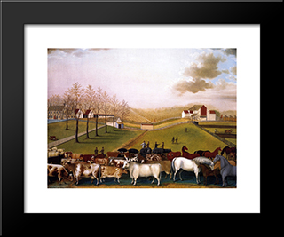 An Indian Summer View Of The Farm & Stock Of James C. Cornell: Modern Black Framed Art Print by Edward Hicks