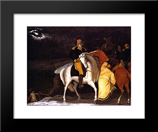 George Washington With His Army Crossing The Delaware: Modern Black Framed Art Print by Edward Hicks
