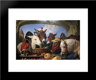 A Group Of Animals, Geneva: Modern Black Framed Art Print by Edwin Henry Landseer