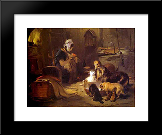 A Highland Breakfast: Modern Black Framed Art Print by Edwin Henry Landseer