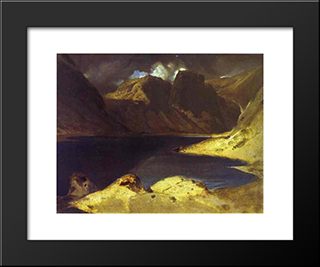 A Lake Scene Effect Of A Storm: Modern Black Framed Art Print by Edwin Henry Landseer