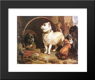 Alexander And Diogenes: Modern Black Framed Art Print by Edwin Henry Landseer