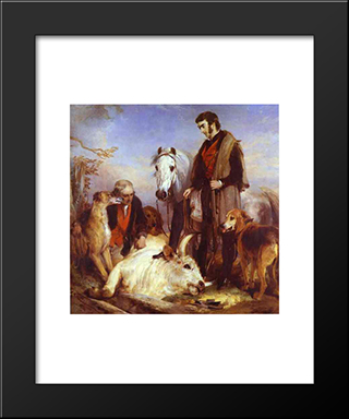 Death Of The Wild Bull: Modern Black Framed Art Print by Edwin Henry Landseer