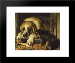 Doubtful Crumbs: Modern Black Framed Art Print by Edwin Henry Landseer