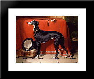 Eos, A Favorite Greyhound Of Prince Albert: Modern Black Framed Art Print by Edwin Henry Landseer