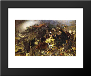Flood In The Highlands: Modern Black Framed Art Print by Edwin Henry Landseer