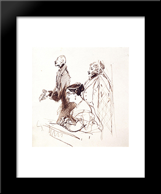 General Phipps, Mrs.Norton And 2Nd Baron Alvanley At The Theatre: Modern Black Framed Art Print by Edwin Henry Landseer