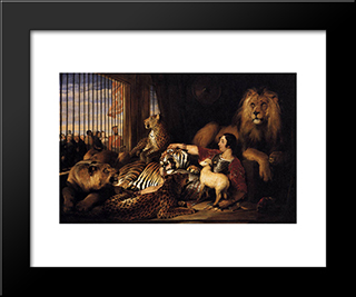 Isaac Van Amburgh And His Animals: Modern Black Framed Art Print by Edwin Henry Landseer