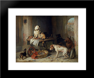 Jack In Office: Modern Black Framed Art Print by Edwin Henry Landseer