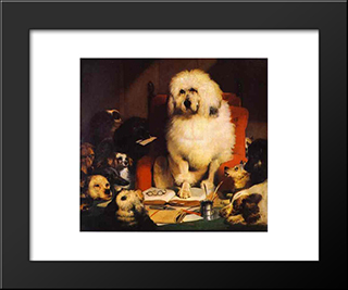 Laying Down The Law: Modern Black Framed Art Print by Edwin Henry Landseer