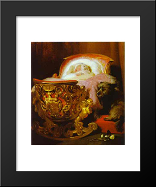 Princess Alice: Modern Black Framed Art Print by Edwin Henry Landseer