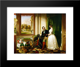 Queen Victoria And Prince Albert At Home At Windsor Castle In Berkshire, England: Modern Black Framed Art Print by Edwin Henry Landseer