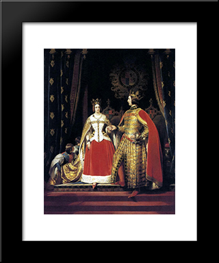 Queen Victoria And Prince Albert At The Bal Costume: Modern Black Framed Art Print by Edwin Henry Landseer