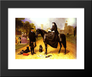 Queen Victoria At Osborne House: Modern Black Framed Art Print by Edwin Henry Landseer