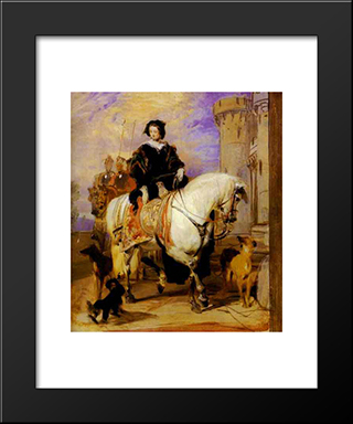 Queen Victoria On Horseback: Modern Black Framed Art Print by Edwin Henry Landseer