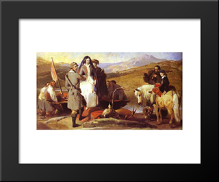Royal Sports On Hill And Loch: Modern Black Framed Art Print by Edwin Henry Landseer