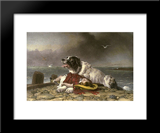 Saved: Modern Black Framed Art Print by Edwin Henry Landseer