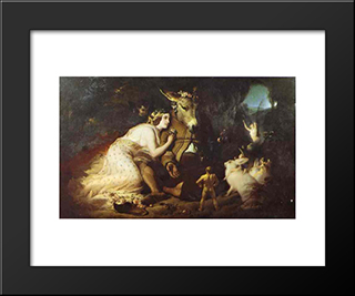Scene From A Midsummer Night'S Dream, Titania And Bottom: Modern Black Framed Art Print by Edwin Henry Landseer