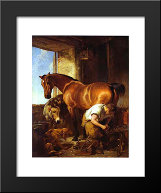 Shoeing: Modern Black Framed Art Print by Edwin Henry Landseer