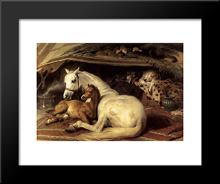 The Arab Tent: Modern Black Framed Art Print by Edwin Henry Landseer