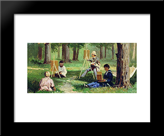Artists In The Open Air: Modern Black Framed Art Print by Efim Volkov