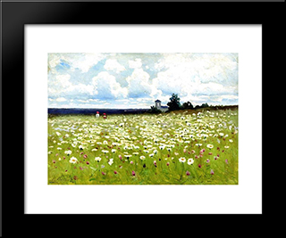 Field Of Daisies: Modern Black Framed Art Print by Efim Volkov