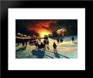 Fire: Modern Black Framed Art Print by Efim Volkov
