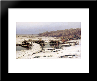 First Snow: Modern Black Framed Art Print by Efim Volkov