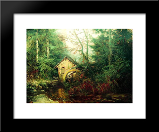 Forest Landscape With Watermill: Modern Black Framed Art Print by Efim Volkov