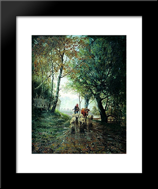 Grazing: Modern Black Framed Art Print by Efim Volkov
