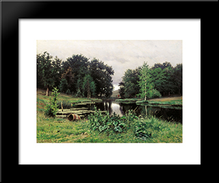Landscape With A Pond: Modern Black Framed Art Print by Efim Volkov