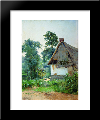 Landscape With An Abandoned House: Modern Black Framed Art Print by Efim Volkov