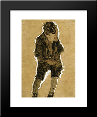 Boy With Hand To Face: Modern Black Framed Art Print by Egon Schiele