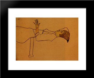 Clothed Woman, Reclining: Modern Black Framed Art Print by Egon Schiele