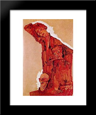Composition With Three Male Figures (Self Portrait): Modern Black Framed Art Print by Egon Schiele