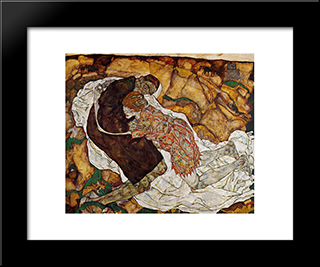 Death And The Maiden: Modern Black Framed Art Print by Egon Schiele