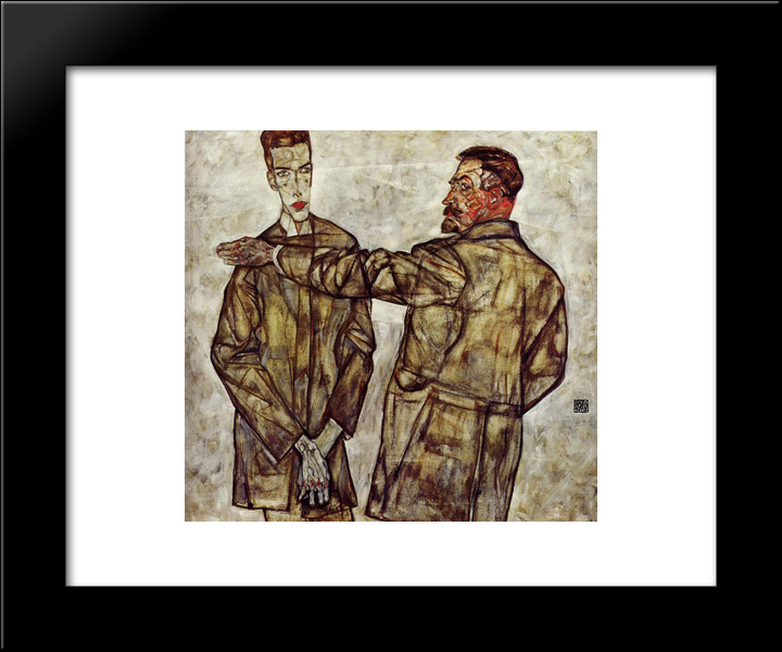 Double Portrait (Chief Inspector Heinrich Benesch And His Son Otto): Modern Black Framed Art Print by Egon Schiele