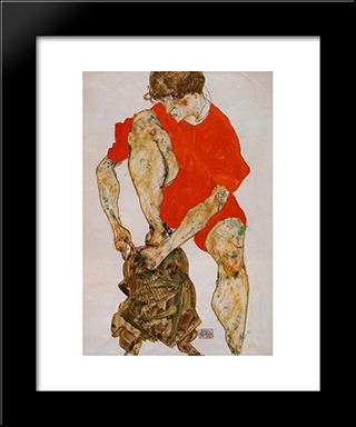 Female Model In Bright Red Jacket And Pants: Modern Black Framed Art Print by Egon Schiele