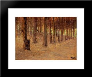 Forest With Sunlit Clearing In The Background: Modern Black Framed Art Print by Egon Schiele