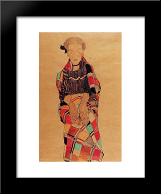 Girl In Black Pinafore, Wrapped In Plaid Blanket: Modern Black Framed Art Print by Egon Schiele