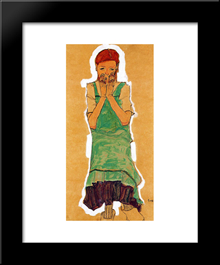 Girl With Green Pinafore: Modern Black Framed Art Print by Egon Schiele
