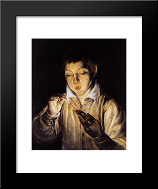 A Boy Blowing On An Ember To Light A Candle: Modern Black Framed Art Print by El Greco