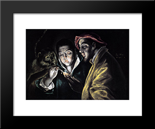 Allegory, Boy Lighting Candle In The Company Of An Ape And A Fool - Fabula: Modern Black Framed Art Print by El Greco