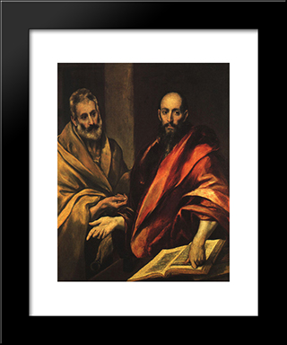 Apostles Peter And Paul: Modern Black Framed Art Print by El Greco