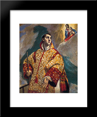 Apparition Of The Virgin To St. Lawrence: Modern Black Framed Art Print by El Greco