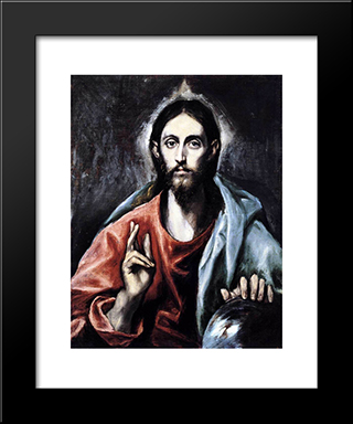 Christ Blessing (The Saviour Of The World): Modern Black Framed Art Print by El Greco